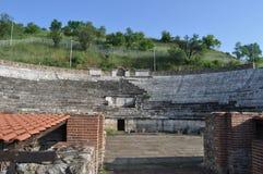 Forntida Roman Theatre i Makedonien Arkivbild