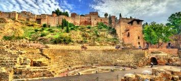 Forntida Roman Theatre i Malaga, Andalusia, Spanien royaltyfri foto