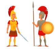 Forntida romare och grekisk soldat Royaltyfri Foto