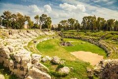 Forntida romersk amfiteater av Syracuse Arkivfoto