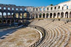 Forntida romersk Amphitheater i Pula Arkivbild
