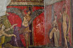 Forntida romersk freskomålning i Pompeii som visar en detalj av gåtakulten av Dionysus Royaltyfria Bilder