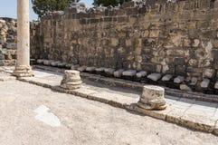 Forntida romersk offentlig toalett arkivbild