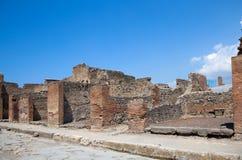Forntida romersk stad av Pompeii, som förstördes och begravdes förbi Arkivbild