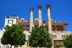 Forntida romersk tempel Templo De Culto Imperialistisk i Cordoba, Andalusia, Spanien Arkivbild