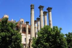 Forntida romersk tempel Templo De Culto Imperialistisk i Cordoba, Andalusia, Spanien Arkivfoto