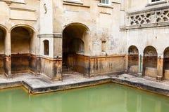 Forntida romerska bad i staden av badet Arkivfoto