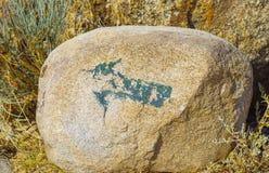 Forntida seende målning nära Issyk-Kul sjön Arkivbilder
