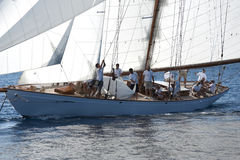 Forntida segelbåt under en regatta på den Panerai klassikern Yac Royaltyfria Bilder