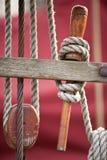 Forntida segelbåtdetalj Arkivbilder