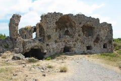 Forntida sida vägg landmark kalkon Fördärvar av den forntida staden royaltyfria bilder