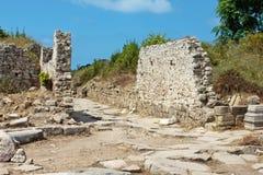 Forntida sida vägg landmark kalkon Fördärvar av den forntida staden fotografering för bildbyråer
