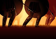 Forntida sköld och spjut för armémarsinnehav stock illustrationer