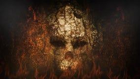 Forntida skallevägg i ögla för helvete 4K stock illustrationer