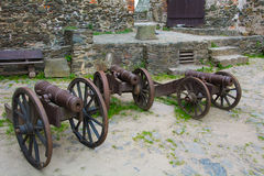 Forntida skjutvapen som bevaras till denna dag Utställning i slotten av Bolkow Polen Royaltyfria Bilder