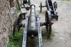 Forntida skjutvapen som bevaras till denna dag Utställning i slotten av Bolkow Polen Royaltyfri Bild