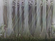 forntida skog stock illustrationer