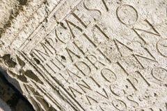 Forntida skrift i Aquincum Royaltyfria Foton