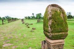 Forntida skulptursandstenpelare på vaten Phou, södra Laos Ny grässlätt och tropiska trädbakgrunder offentlig park UNESCO arkivbild
