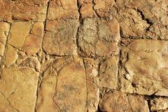 Forntida sliten stentrottoar polerad av fot av folk i gammal stad av Jerusalem, Israel Royaltyfri Fotografi