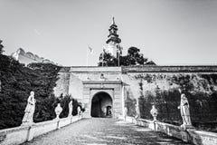 Forntida slott i Nitra, Slovakien som är akromatisk royaltyfri bild