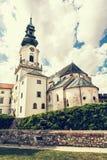 Forntida slott i Nitra, slovakisk republik, retro fotofilter arkivbild
