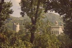 Forntida slott in till skogen Arkivfoto