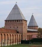 Forntida Smolensk kremlin på det västra av Ryssland fotografering för bildbyråer