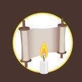 Forntida snirkel- och stearinljusbeståndsdelar för logo och rengöringsduk vektor illustrationer