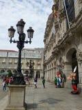 Forntida spansk stadsLa Coruña Asterix och Obelix Royaltyfri Foto