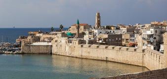 Forntida stad av Akko i morgonen israel Royaltyfri Fotografi