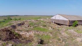 Forntida stad av Halmyris, flyg- perspektiv lager videofilmer
