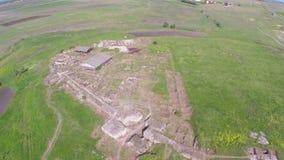 Forntida stad av Halmyris, flyg- perspektiv stock video