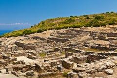 Forntida stad av Kameiros på ön av Rhodes Arkivbilder