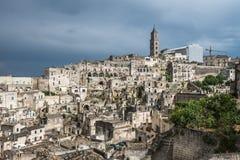 Forntida stad av Matera (Sassi di Matera), Basilicata, Italien Arkivfoto