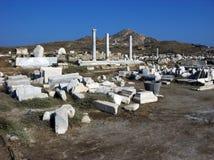 Forntida stad Delos, nära Mykonos, Grekland Royaltyfri Fotografi