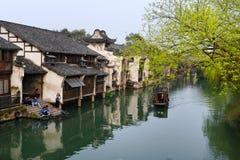 Forntida stad för vattenby-Wuzhen Arkivfoto