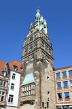 Forntida stad Hall Tower, Munster, Tyskland Arkivfoton