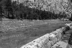 Forntida stadion på Delfi, Grekland Arkivbild