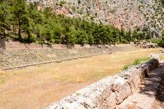 Forntida stadion på Delfi, Grekland Royaltyfri Fotografi
