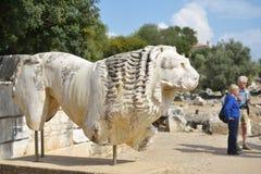 Forntida staty av lionen Fotografering för Bildbyråer