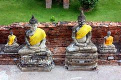 Forntida statyer av Buddha av olika format, i den gamla templet av Wat Yai Chaimongkol i Ayutthaya, Thailand royaltyfri fotografi