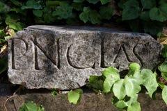 Forntida sten med inskrift Royaltyfria Bilder