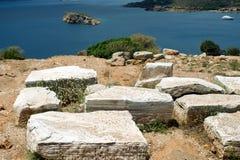 Forntida stenar av Grekland Arkivbild