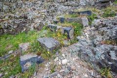 Forntida stentrappuppgång på våren arkivfoto