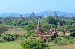 Forntida Stupas och pagoder av Bagan myanmar Fotografering för Bildbyråer