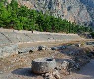 Forntida teater av Delphi Arkivfoto
