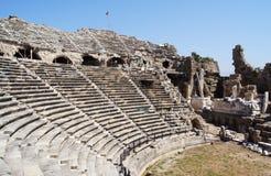 Forntida teater i sidan, Turkiet Arkivfoto