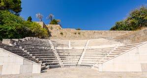 Forntida teater på Rhodes Arkivbilder