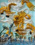 Forntida teckning av en drake  Fotografering för Bildbyråer